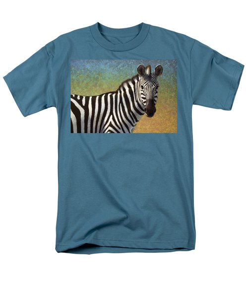 Men's T-Shirt  (Regular Fit) featuring the painting Portrait Of A Zebra by James W Johnson