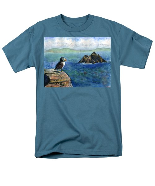 Puffin At Skellig Island Ireland Men's T-Shirt  (Regular Fit) by John D Benson