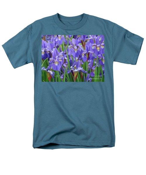 Men's T-Shirt  (Regular Fit) featuring the painting Purple Iris Garden by Tim Gilliland