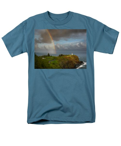Rainbow Over Kilauea Lighthouse On Kauai Men's T-Shirt  (Regular Fit)