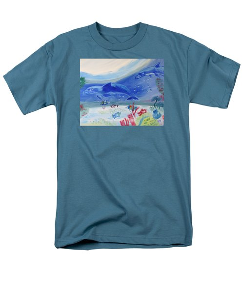 Men's T-Shirt  (Regular Fit) featuring the painting Rhythm Of The Sea by Meryl Goudey
