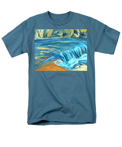 Men's T-Shirt  (Regular Fit) featuring the painting Run River Run Over Rocks In The Sun by Betty Pieper