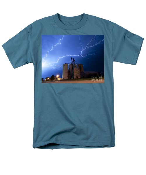 Men's T-Shirt  (Regular Fit) featuring the photograph Rural Lightning Storm by Art Whitton