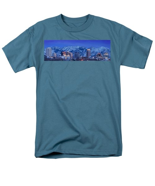 Salt Lake City Skyline Men's T-Shirt  (Regular Fit) by Brian Jannsen