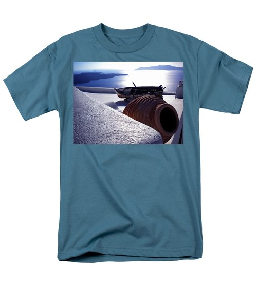 Men's T-Shirt  (Regular Fit) featuring the photograph Santorini Island Early Sunset View Greece by Colette V Hera  Guggenheim