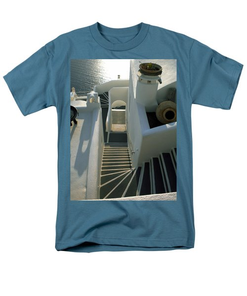 Men's T-Shirt  (Regular Fit) featuring the photograph Santorini Stairs by Colette V Hera  Guggenheim
