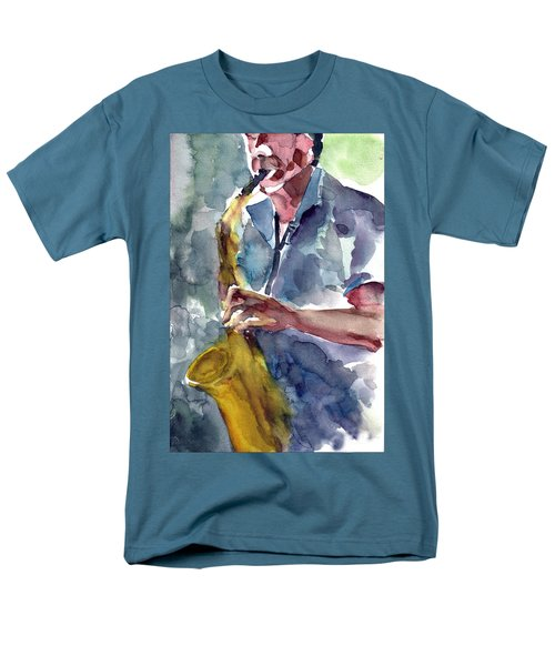 Men's T-Shirt  (Regular Fit) featuring the painting Saxophonist by Faruk Koksal