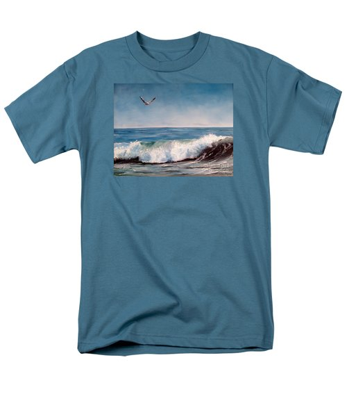 Men's T-Shirt  (Regular Fit) featuring the painting Seagull With Wave  by Lee Piper