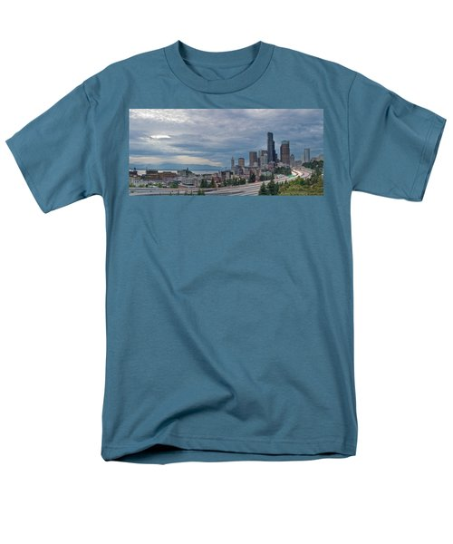 Men's T-Shirt  (Regular Fit) featuring the photograph Seattle Downtown Skyline And Freeway Panorama by JPLDesigns