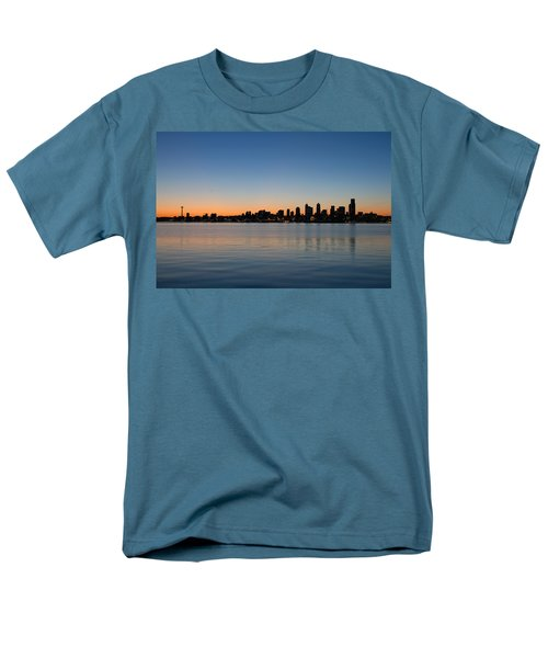 Men's T-Shirt  (Regular Fit) featuring the photograph Seattle Washington Waterfront Skyline At Sunrise Panorama by JPLDesigns