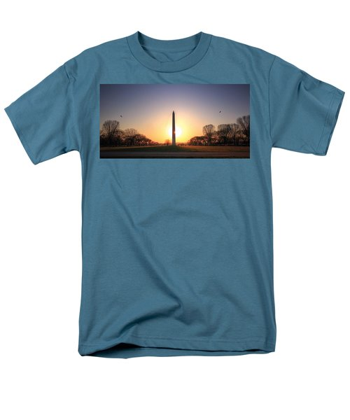 Setting Sun On Washington Monument Men's T-Shirt  (Regular Fit) by Shelley Neff