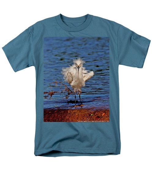 Men's T-Shirt  (Regular Fit) featuring the photograph Snowy Egret With Yellow Feet by Tom Janca