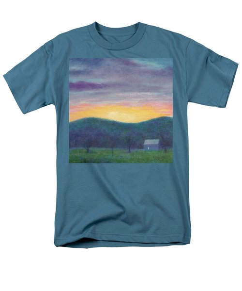 Blue Yellow Nocturne Solitary Landscape Men's T-Shirt  (Regular Fit) by Judith Cheng