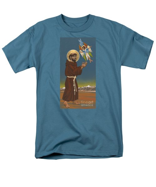 Men's T-Shirt  (Regular Fit) featuring the painting St. Francis Patron Of Colorado 186 by William Hart McNichols