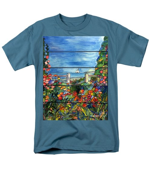 Stained Glass Tiffany Landscape Window With Sailboat Men's T-Shirt  (Regular Fit) by Donna Walsh