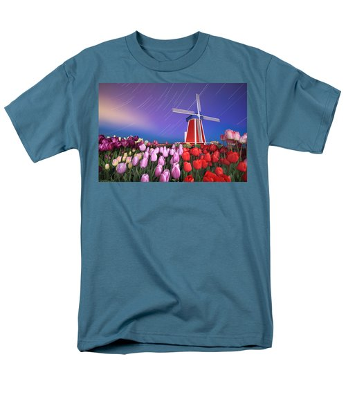 Star Trails Windmill And Tulips Men's T-Shirt  (Regular Fit) by William Lee