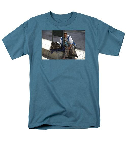 Men's T-Shirt  (Regular Fit) featuring the photograph Street People - A Touch Of Humanity 10 by Teo SITCHET-KANDA