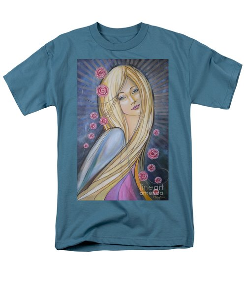 Men's T-Shirt  (Regular Fit) featuring the painting Sun And Roses 081008 by Selena Boron
