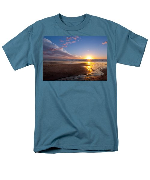 Sunset On The Beach At Carlsbad. Men's T-Shirt  (Regular Fit) by Melinda Fawver