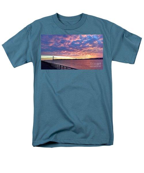 Sunset Over Verrazano Bridge And Narrows Waterway Men's T-Shirt  (Regular Fit) by John Telfer