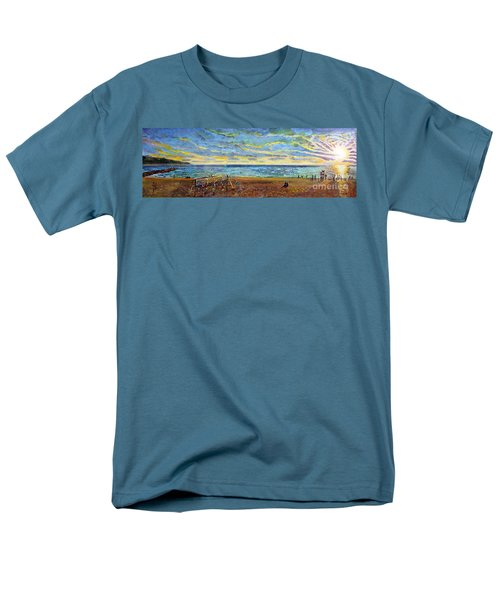 Sunset Volleyball At Old Silver Beach Men's T-Shirt  (Regular Fit) by Rita Brown