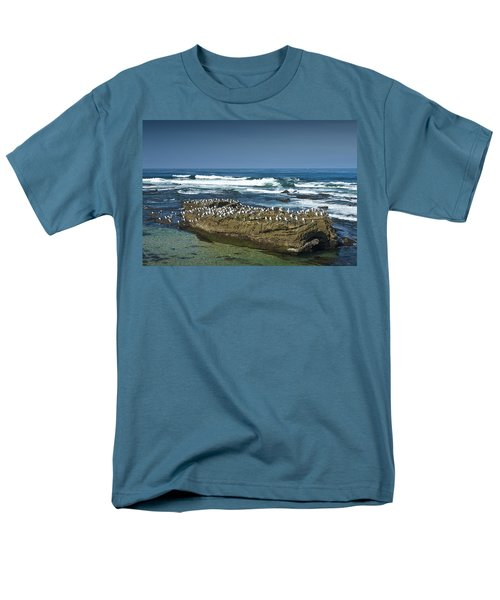 Surf Waves At La Jolla California With Gulls Perched On A Large Rock No. 0194 Men's T-Shirt  (Regular Fit) by Randall Nyhof