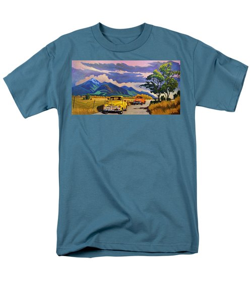 Men's T-Shirt  (Regular Fit) featuring the painting Taos Joy Ride With Yellow And Orange Trucks by Art West