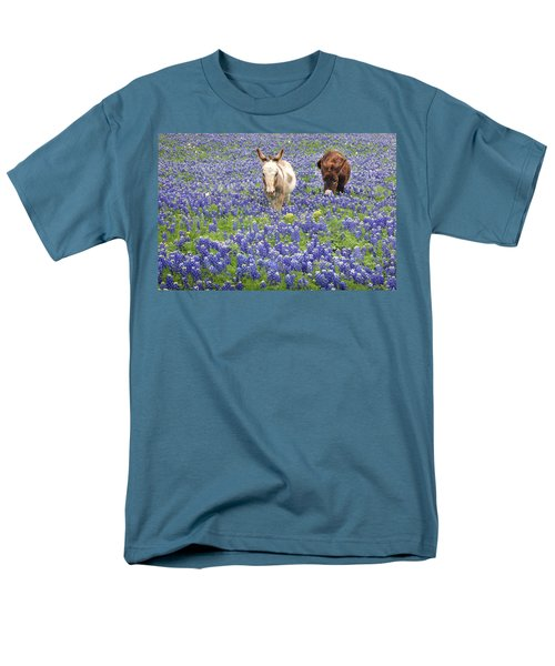 Men's T-Shirt  (Regular Fit) featuring the photograph Texas Donkeys And Bluebonnets - Texas Wildflowers Landscape by Jon Holiday