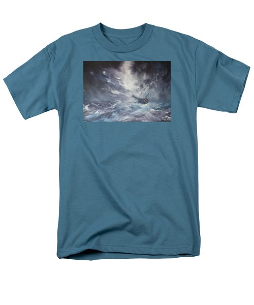 Men's T-Shirt  (Regular Fit) featuring the painting The Endeavour On Stormy Seas by Jean Walker