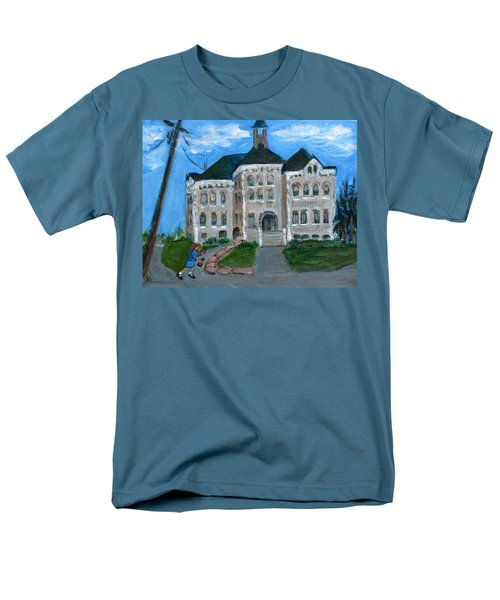 Men's T-Shirt  (Regular Fit) featuring the painting The Last Bell At West Hill School by Betty Pieper