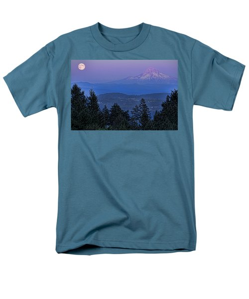 The Moon Beside Mt. Hood Men's T-Shirt  (Regular Fit) by Don Schwartz