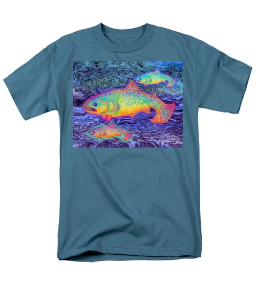 Men's T-Shirt  (Regular Fit) featuring the mixed media The Salmon King by Teresa Ascone