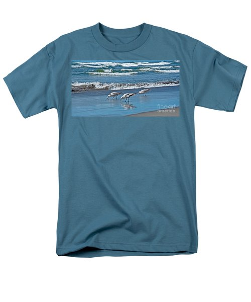 Men's T-Shirt  (Regular Fit) featuring the photograph Three Seagulls At Ocean Shore Art Prints by Valerie Garner