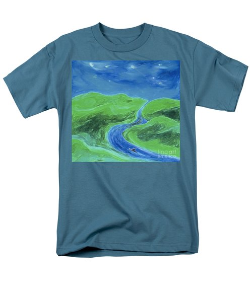 Men's T-Shirt  (Regular Fit) featuring the painting Travelers Upstream By Jrr by First Star Art