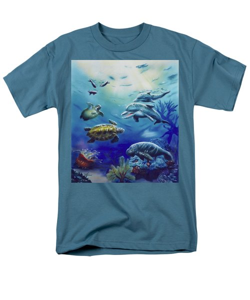 Men's T-Shirt  (Regular Fit) featuring the painting Under Water Antics by Thomas J Herring