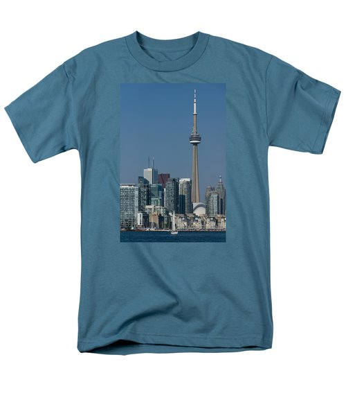 Up Close And Personal - Cn Tower Toronto Harbor And Skyline From A Boat Men's T-Shirt  (Regular Fit) by Georgia Mizuleva
