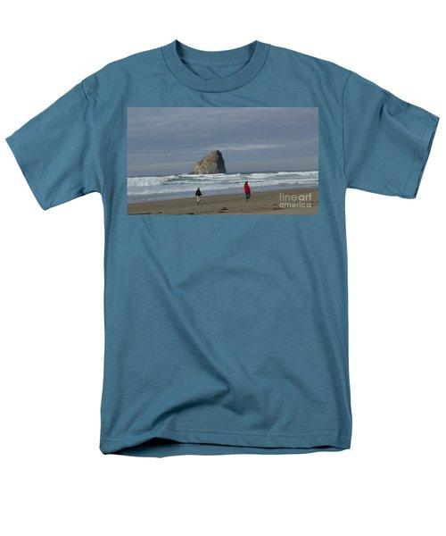 Men's T-Shirt  (Regular Fit) featuring the photograph Walking On The Beach by Susan Garren