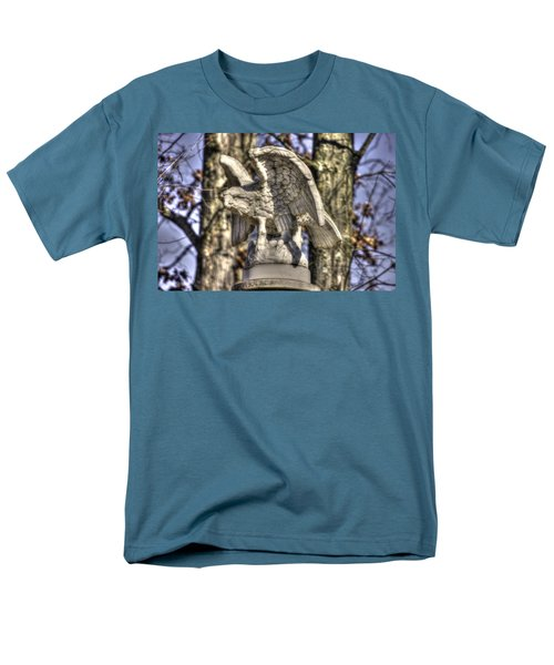 Men's T-Shirt  (Regular Fit) featuring the photograph War Eagles - Vermont Company F 1st U. S. Sharpshooters-a1 Pitzer Woods Gettysburg by Michael Mazaika