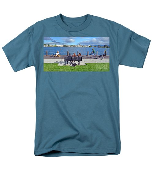 Men's T-Shirt  (Regular Fit) featuring the photograph Watching The Bikes Go By At Congressman Leo Ryan's Memorial Park by Jim Fitzpatrick