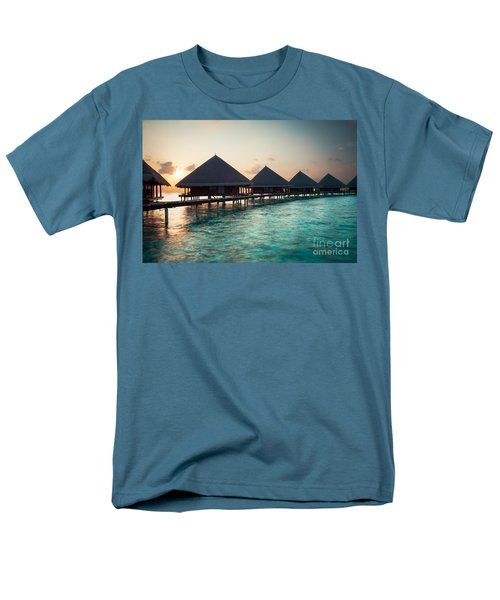 Waterbungalows At Sunset Men's T-Shirt  (Regular Fit) by Hannes Cmarits