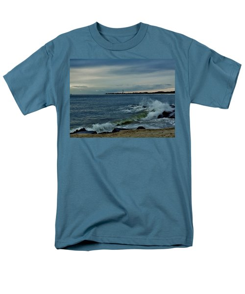 Wave Crashing At Cape May Cove Men's T-Shirt  (Regular Fit) by Ed Sweeney