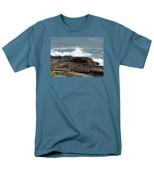 Wave Hitting Rock Men's T-Shirt  (Regular Fit) by Catherine Gagne