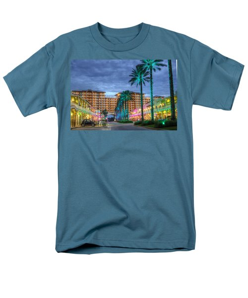 Men's T-Shirt  (Regular Fit) featuring the digital art Wharf Turquoise Lighted  by Michael Thomas