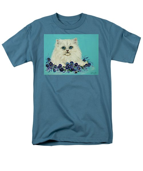 Men's T-Shirt  (Regular Fit) featuring the painting White Persian In Pansy Patch Original Forsale by Bob and Nadine Johnston