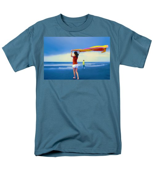 Children Playing On The Beach Men's T-Shirt  (Regular Fit) by Vizual Studio