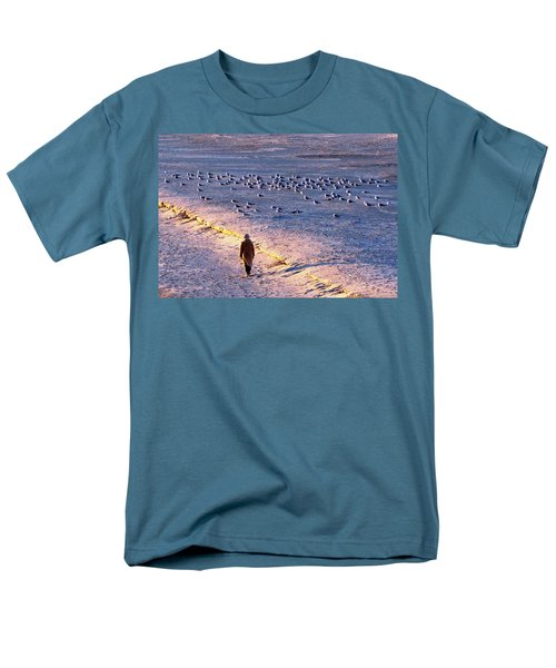 Men's T-Shirt  (Regular Fit) featuring the photograph Winter Time At The Beach by Cynthia Guinn