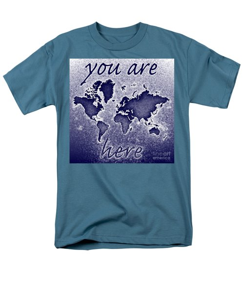 World Map You Are Here Novo In Blue Men's T-Shirt  (Regular Fit) by Eleven Corners