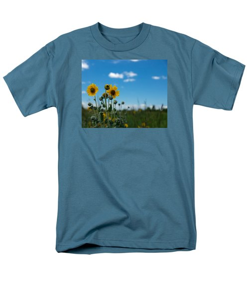 Yellow Flower On Blue Sky Men's T-Shirt  (Regular Fit) by Photographic Arts And Design Studio