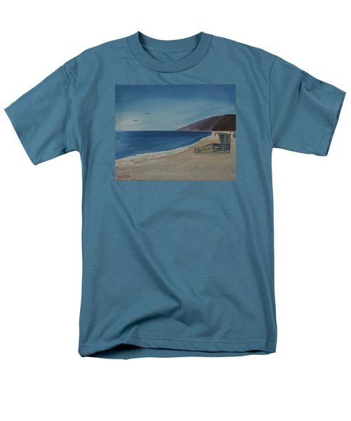 Men's T-Shirt  (Regular Fit) featuring the painting Zuma Lifeguard Tower by Ian Donley