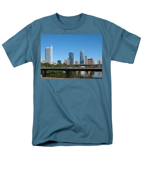 Men's T-Shirt  (Regular Fit) featuring the photograph Austin Texas 2012 Skyline And Water Reflections by Connie Fox